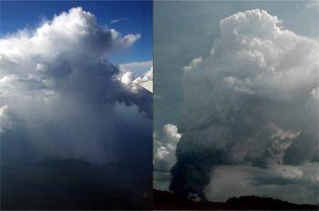 Nicht jede dicke Wolke bringt Regen: In unbelasteter Luft regnet diese Wolke über dem Amazonas normal ab (links). Aus einer anderen Wolke vom selben Tag fiel kein Regen, da sie mit vielen Aerosolen durch Brandrodungen belastet war - die Tropfen blieben zu klein (rechts).  Bild: links: Meinrat Andreae, MPI für Chemie; rechts: Daniel Rosenfeld, Hebrew University, Jerusalem