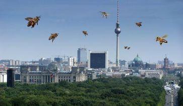 """Honigbienen vor der Berliner Skyline (Fotomontage). Bild: """"obs/Zentrum der Umweltkommunikation der Deutschen Bundesstiftung Umwelt ZUK/Deutschland summt!"""""""