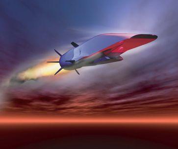 Die Boeing X-51A Waverider ist ein unbemanntes Scramjet-Demonstrationsflugzeug, das eine Geschwindigkeit von Mach 6+ erreichen soll.