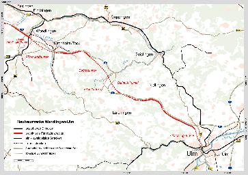 Die Neubaustrecke (NBS) Wendlingen–Ulm ist eine im Bau befindliche Eisenbahn-Neubaustrecke zwischen Wendlingen (bei Stuttgart) und Ulm für den Personenfern- und Güterverkehr. Die Schnellfahrstrecke soll der Überquerung der Schwäbischen Alb mit Geschwindigkeiten von bis zu 250 km/h[6] dienen. Sie ist neben Stuttgart 21 Teil des Bahnprojekts Stuttgart–Ulm.