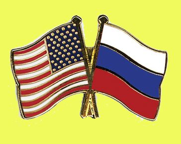 Russland und USA Flagge