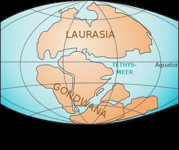 Die Großkontinente Laurasia und Gondwana in der Trias, etwa vor 200 Millionen Jahren