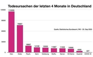 Todesursachen der letzten 4 Monate in Deutschland: COVID-19 ist eine sehr seltensten Erkrankungen überhaupt, Stand 20.09.2020 Statistisches Bundesamt.