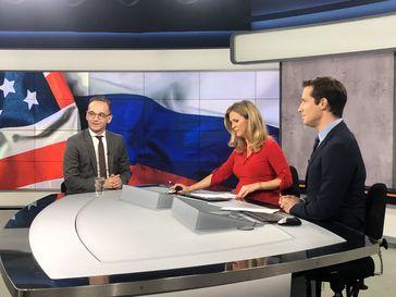 """Heiko Maas im WELT-Nachrichtenstudio im Interview mit Stephanie Rahn und Jens Reupert. Bild: """"obs/WELT/FOTO: © WeltN24 GmbH"""""""