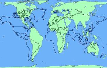 """Afrika größer als in Schulbüchern: """"Wunsch"""" (blaue Umrandungen) [Mercator Darstellung] und """"Wirklichkeit"""" der Landmassen (Kontinente) der Erde (hellgrüne Flächen) genaue geographische Position und Flächen genaue Größe [Peters Projektion]"""