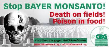 Coordination gegen BAYER-Gefahren (Coalition against BAYER-Dangers) setzten seit Jahren als Aktionäre dem Bayer Konzern zu (Logo)