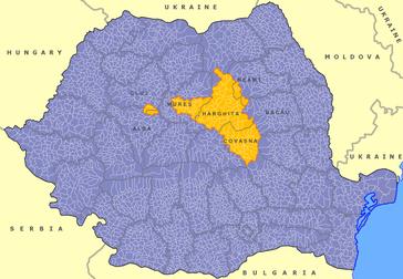 Das Szeklerland, hier gelb eingezeichnet, liegt heute tief im rumänischen Staatsgebiet im östlichsten Teil Siebenbürgens.
