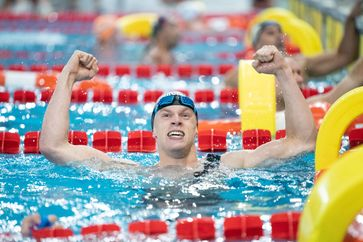 Tim Brang (23) gewann bei der Europameisterschaft im Rettungsschwimmen in Spanien bislang vier Goldmedaillen Bild: DLRG e.V. Fotograf: Daniel-André Reinelt