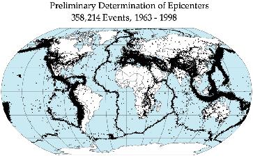 Weltkarte mit 358.214 Epizentren von Erdbeben zwischen 1963 und 1998 Bild: de.wikipedia.org