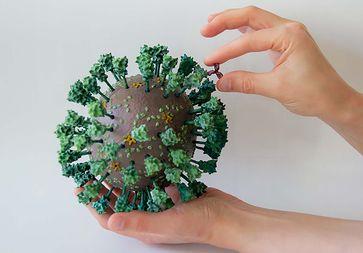 Foto 1: das 3D-Modell des neuen Coronavirus SARS-CoV-2 und eines Antikörpers, 1.000.000-fach vergrößert. Quelle: Rudolf-Virchow-Zentrum (idw)