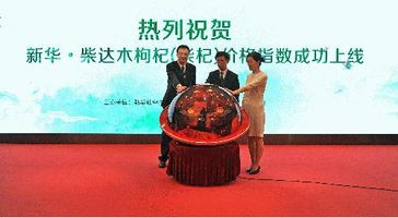 Su Huizhi, Vice President of CEIS (left), Ma Rui, Deputy Secretary General of Qinghai Provincial Government (middle), and Xie Jingui, Deputy Secretary General of Haixi Prefecture Municipal Government (right) jointly release the Xinhua-Tsaidam goji berry price index in Beijing on May 31st.
