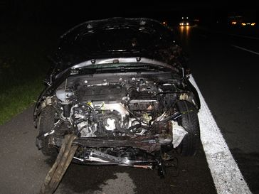 Skoda Octavia nach Wildunfall Bild: Polizei