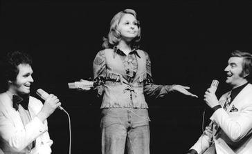 Dagmar Frederic mit Michael Hansen (links) und Peter Wieland (1973), Archivbild