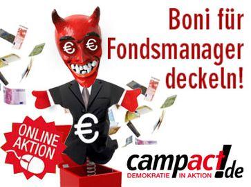 """Banner zum Campact : Online-Protest gegen """"Boni-Wahnsinn"""""""