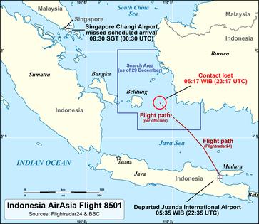 Indonesia-AirAsia-Flug 8501 (Flugnummer QZ8501) war ein Linienflug der Fluggesellschaft Indonesia AirAsia vom Flughafen Juanda in Surabaya auf der indonesischen Hauptinsel Java zum Flughafen Singapur. Am 28. Dezember 2014 verschwand ein Airbus A320 auf dieser Linie.