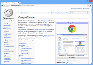 Google Chrome 21.0 unter Windows 8 Bild: wikipedia.org
