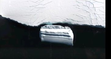 "Bild: Screenshot Youtube Video ""Alien hunters find 'massive UFO base' frozen in ice off Antarctica!"""