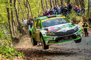 Der von SKODA Motorsport unterstützte Andreas Mikkelsen und Beifahrer Ola Floene (SKODA FABIA Rally2 evo) Bild: SMB Fotograf: Skoda Auto Deutschland GmbH