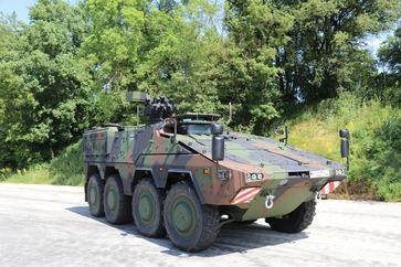 Das GTK Boxer ist ein echtes Allround-Fahrzeug mit hohem Einsatzwert, ob auf der Straße oder im Gelände. Bild: KMW Fotograf: PIZ Ausrüstung, Informationstechnik und Nutzung