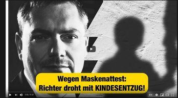 """Bild: Screenshot Video: """"Maskenattest: Richter droht mit Kindesentzug!"""" (https://youtu.be/UcOG6PG81mw) / Eigenes Werk"""