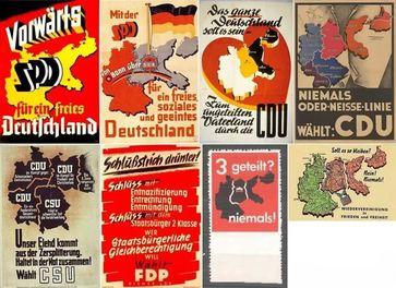 Alte Wahlplakate von etwa 1949 bis 1980 von SPD, CDU und FDP als die Parteien Deutschland nach Völkerrecht vollständig wieder vereinigen wollten.