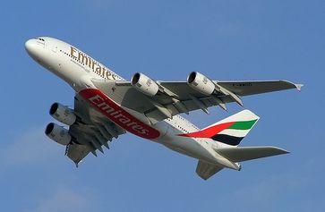 Ein Airbus A380-800 des größten Kunden Emirates. Bild: G patkar on en.wikipedia
