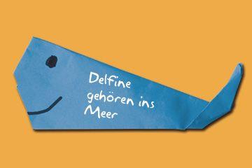 Origami-Petition der Wal- und Delfinschutzorganisationen WDCS und OceanCare