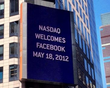 Billboard on the Thomson Reuters building welcomes Facebook to Nasdaq, 2012.