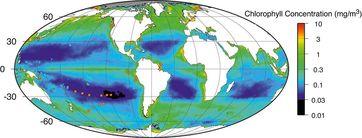 Satellitenmessung des Nährstoffgehalts in den Ozeanen. Die Punkte markieren die Stellen, an denen Proben genommen wurden. Im Südpazifik befindet sich eine große Zone, in der praktisch keine Nährstoffe messbar sind.  Bild: GFZ, Jens Kallmeyer