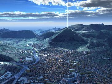 Künstlerische Darstellung des 28 kilo Hertz Signals aus der Sonnenpyramide in Bosnien