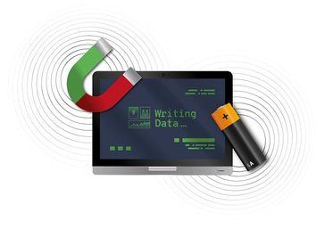 Eine Herausforderung: Zwischen magnetischen Speichern und elektrischen Schreibsignalen richtig zu vermitteln.