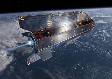 Im Projekt DISCOVERER werden neue Technologien für erdnahe Satelliten entwickelt, wie es zum Beispiel der ESA-Satellit GOCE war. (Künstlerische Darstellung) Quelle: © ESA–AOES-Medialab (idw)
