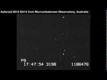 "Screenshot aus dem Youtube Video ""Asteroid 2012 DA14 ""15.02.2013"""""