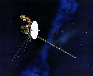 Künstlerische Darstellung der Voyager-Sonde im All