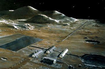 NASA-Illustration zu einer Studie, wie Rohstoffe aus Mondmaterial gewonnen und auf Fluchtgeschwindigkeit gebracht werden könnten (1977)