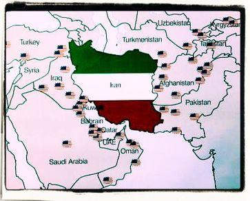 US-Militärbasen und Truppen um den Iran herum. Iran ist neben Nordkorea eines der letzten Länder ohne eine Rothschild-Zentralbank.