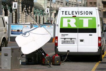 Übertragungsfahrzeug von RT in Moskau