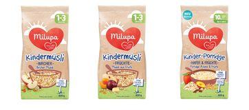 "Milupa Kindermüsli Früchte / Milupa Kindermüsli Bircher / Milupa Kinder-Porridge Hafer & Früchte /  Bild: ""obs/Danone DACH"""