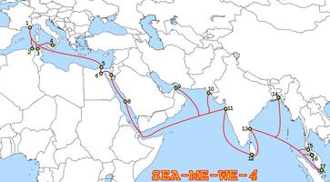Lage und Landepunkte des SEA-ME-WE-4-Seekabels