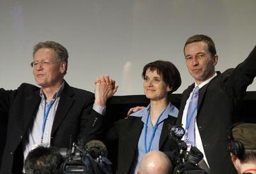 Frauke Petry mit Konrad Adam und Bernd Lucke beim Gründungsparteitag der AfD 2013 in Berlin