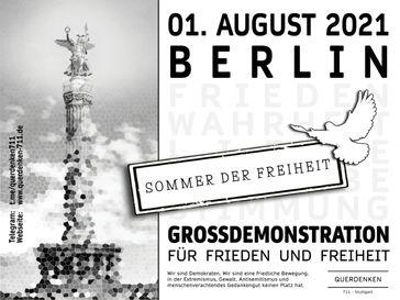 Einladungsflyer Querdenken 711 Demo in Berlin am 01.08.2021
