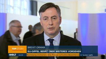 """David McAllister (CDU) am 21.3.19 auf WELT zum Brexit. Bild: """"obs/WELT/WeltN24 GmbH"""""""
