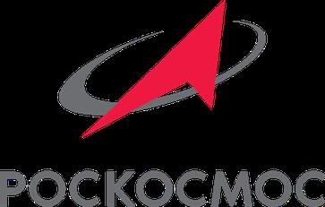 Logo der russischen Raumfahrtorganisation mit kyrillischer Inschrift: Roskosmos