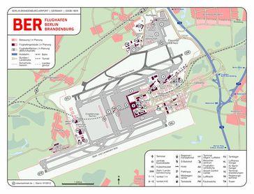 Karte des Flughafens Berlin Brandenburg inkl. zukünftiger Ausbauten laut Planfeststellungsbeschluss. Bild: CellarDoor85 / wikipedia.org