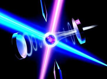 Die Quanteninformation eines ionisierten Atoms wird in den Polarisationszustand eines Lichtteilchens eingeschrieben. Quelle: Grafik: Harald Ritsch (idw)