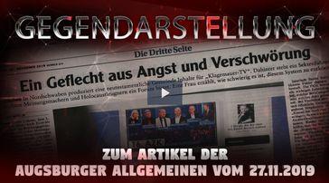 """Kla.TV: Gegendarstellung zum Artikel der Augsburger Allgemeinen vom 27.11.2019 – """"Ein Geflecht aus Angst und Verschwörung"""""""