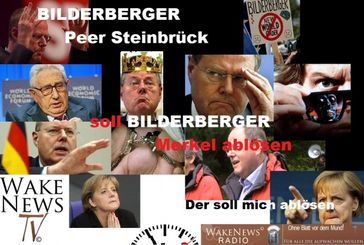 "Screenshot aus dem Youtube Video ""Bilderberger Steinbrück löst Bilderberger Merkel ab Wake News Radio TV"""