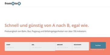 """Screenshot von der Webseite """"fromatob.de"""""""