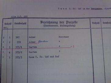 """Seite aus dem """"herkömmlichen"""" Grundbuch von Mattersburg in Papierform; gelöschte Eintragungen sind rot unterstrichen; die """"Katastralzahl"""" wird nun """"Grundstücksnummer"""", die """"Parzelle"""" als """"Grundstück"""" bezeichnet"""