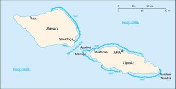 Karte von Samoa mit deutscher Beschreibung